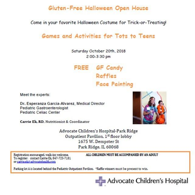 The #pediatric #celiacdisease center of the #advocatechildrenshospital located in #parkridge #illinois @advocatekids is hosting a #halloweenparty on Saturday, October 20th for #celiackids. Wear your favorite #costume and stop by from 2 – 3:30pm for #gfcandy and games meant for kids of all ages to enjoy. This is a great opportunity to connect with other #glutenfree families in the area.  #glutenfreeceliackids #glutenfreeliving #celiacsafe #celiacdiseaseawareness #celiacawareness #gf #glutenfreelife #celiacmom #happyhalloween #trickortreat #glutenfreehalloween